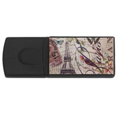 Paris Eiffel Tower Vintage Bird Butterfly French Botanical Art 4GB USB Flash Drive (Rectangle)