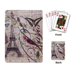 Paris Eiffel Tower Vintage Bird Butterfly French Botanical Art Playing Cards Single Design