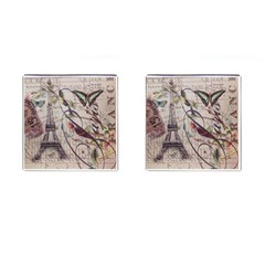 Paris Eiffel Tower Vintage Bird Butterfly French Botanical Art Cufflinks (square)