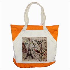 Paris Eiffel Tower Vintage Bird Butterfly French Botanical Art Accent Tote Bag