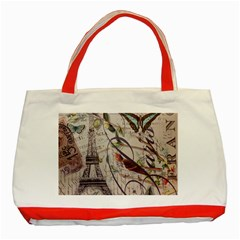 Paris Eiffel Tower Vintage Bird Butterfly French Botanical Art Classic Tote Bag (Red)