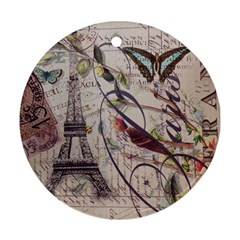 Paris Eiffel Tower Vintage Bird Butterfly French Botanical Art Round Ornament (Two Sides)