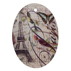 Paris Eiffel Tower Vintage Bird Butterfly French Botanical Art Oval Ornament (Two Sides)