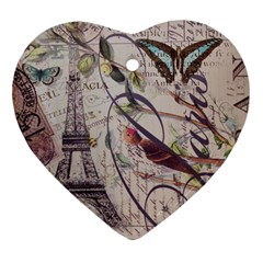 Paris Eiffel Tower Vintage Bird Butterfly French Botanical Art Heart Ornament (Two Sides)