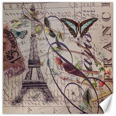 Paris Eiffel Tower Vintage Bird Butterfly French Botanical Art Canvas 16  X 16  (unframed)