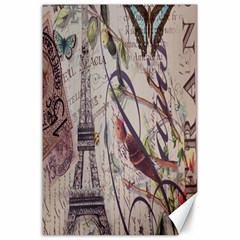 Paris Eiffel Tower Vintage Bird Butterfly French Botanical Art Canvas 24  x 36  (Unframed)