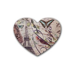 Paris Eiffel Tower Vintage Bird Butterfly French Botanical Art Drink Coasters 4 Pack (heart)