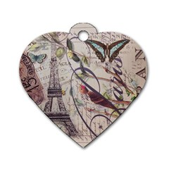 Paris Eiffel Tower Vintage Bird Butterfly French Botanical Art Dog Tag Heart (One Sided)