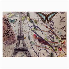 Paris Eiffel Tower Vintage Bird Butterfly French Botanical Art Glasses Cloth (Large, Two Sided)