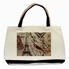 Paris Eiffel Tower Vintage Bird Butterfly French Botanical Art Twin Sided Black Tote Bag