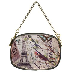 Paris Eiffel Tower Vintage Bird Butterfly French Botanical Art Chain Purse (one Side)