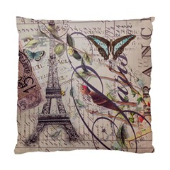Paris Eiffel Tower Vintage Bird Butterfly French Botanical Art Cushion Case (Two Sided)