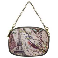 Paris Eiffel Tower Vintage Bird Butterfly French Botanical Art Chain Purse (two Sided)