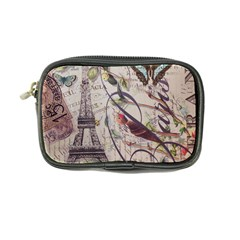 Paris Eiffel Tower Vintage Bird Butterfly French Botanical Art Coin Purse