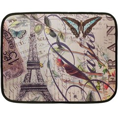 Paris Eiffel Tower Vintage Bird Butterfly French Botanical Art Mini Fleece Blanket (Two Sided)