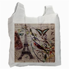Paris Eiffel Tower Vintage Bird Butterfly French Botanical Art Recycle Bag (One Side)