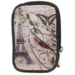 Paris Eiffel Tower Vintage Bird Butterfly French Botanical Art Compact Camera Leather Case