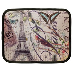 Paris Eiffel Tower Vintage Bird Butterfly French Botanical Art Netbook Case (xxl)