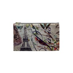 Paris Eiffel Tower Vintage Bird Butterfly French Botanical Art Cosmetic Bag (Small)