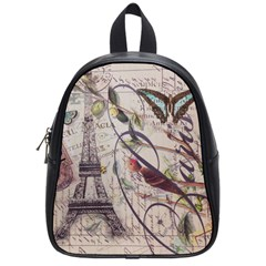 Paris Eiffel Tower Vintage Bird Butterfly French Botanical Art School Bag (Small)
