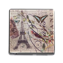 Paris Eiffel Tower Vintage Bird Butterfly French Botanical Art Memory Card Reader with Storage (Square)