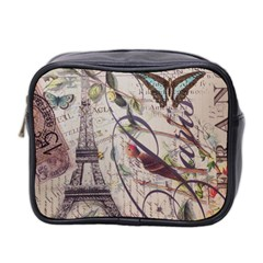 Paris Eiffel Tower Vintage Bird Butterfly French Botanical Art Mini Travel Toiletry Bag (two Sides)