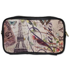 Paris Eiffel Tower Vintage Bird Butterfly French Botanical Art Travel Toiletry Bag (One Side)