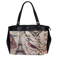 Paris Eiffel Tower Vintage Bird Butterfly French Botanical Art Oversize Office Handbag (Two Sides)
