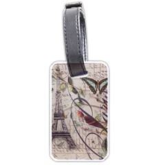 Paris Eiffel Tower Vintage Bird Butterfly French Botanical Art Luggage Tag (One Side)