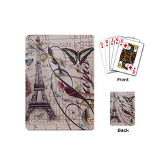 Paris Eiffel Tower Vintage Bird Butterfly French Botanical Art Playing Cards (mini)