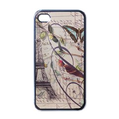 Paris Eiffel Tower Vintage Bird Butterfly French Botanical Art Apple iPhone 4 Case (Black)