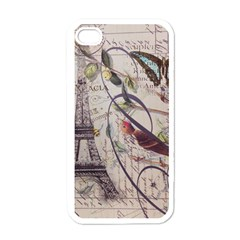 Paris Eiffel Tower Vintage Bird Butterfly French Botanical Art Apple iPhone 4 Case (White)