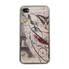Paris Eiffel Tower Vintage Bird Butterfly French Botanical Art Apple iPhone 4 Case (Clear)