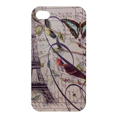 Paris Eiffel Tower Vintage Bird Butterfly French Botanical Art Apple iPhone 4/4S Hardshell Case