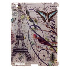 Paris Eiffel Tower Vintage Bird Butterfly French Botanical Art Apple iPad 3/4 Hardshell Case (Compatible with Smart Cover)