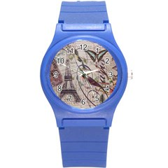 Paris Eiffel Tower Vintage Bird Butterfly French Botanical Art Plastic Sport Watch (Small)