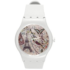Paris Eiffel Tower Vintage Bird Butterfly French Botanical Art Plastic Sport Watch (medium)