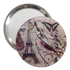 Paris Eiffel Tower Vintage Bird Butterfly French Botanical Art 3  Handbag Mirror