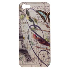 Paris Eiffel Tower Vintage Bird Butterfly French Botanical Art Apple iPhone 5 Hardshell Case