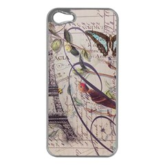 Paris Eiffel Tower Vintage Bird Butterfly French Botanical Art Apple iPhone 5 Case (Silver)