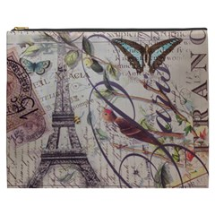 Paris Eiffel Tower Vintage Bird Butterfly French Botanical Art Cosmetic Bag (XXXL)