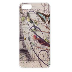 Paris Eiffel Tower Vintage Bird Butterfly French Botanical Art Apple iPhone 5 Seamless Case (White)