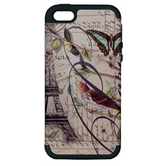 Paris Eiffel Tower Vintage Bird Butterfly French Botanical Art Apple iPhone 5 Hardshell Case (PC+Silicone)