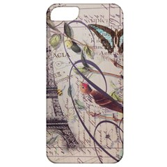 Paris Eiffel Tower Vintage Bird Butterfly French Botanical Art Apple iPhone 5 Classic Hardshell Case