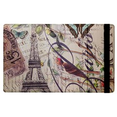 Paris Eiffel Tower Vintage Bird Butterfly French Botanical Art Apple iPad 3/4 Flip Case