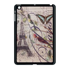 Paris Eiffel Tower Vintage Bird Butterfly French Botanical Art Apple Ipad Mini Case (black)
