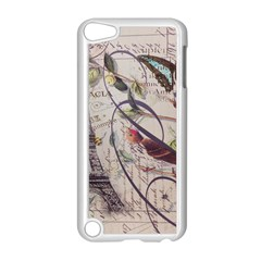Paris Eiffel Tower Vintage Bird Butterfly French Botanical Art Apple iPod Touch 5 Case (White)