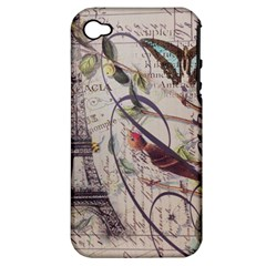 Paris Eiffel Tower Vintage Bird Butterfly French Botanical Art Apple Iphone 4/4s Hardshell Case (pc+silicone)