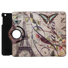 Paris Eiffel Tower Vintage Bird Butterfly French Botanical Art Apple iPad Mini Flip 360 Case
