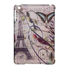 Paris Eiffel Tower Vintage Bird Butterfly French Botanical Art Apple iPad Mini Hardshell Case (Compatible with Smart Cover)